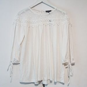 NWT The limited dot lace tie sleeve top Medium